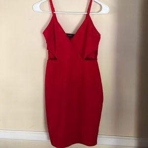 Boohoo red cutout dress